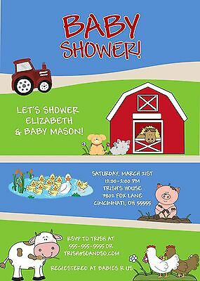 Farm Animals Baby Shower or Baby Reveal Invitation Any Colors Boy Girl Neutral