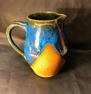 """Legatha Walston SIGNED Ceramic Pottery Pitcher With Drip Glaze 7"""" 1983 Counts"""