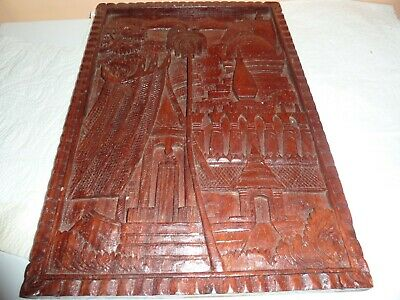 31.6Cm  By 21.5Cm Carved Wooden Plaque Middle Eastern Buildings,mountains &trees