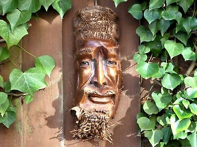 Wooden Bamboo Root Carving Mask Old Man Face Unique Item Plaque..