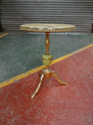 Vintage Round Faux Marble Onyx And Brass Coffee Table.
