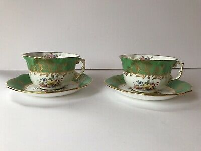 Hammersley & Co 5392 Vintage Green Floral Tea Cups And Saucers