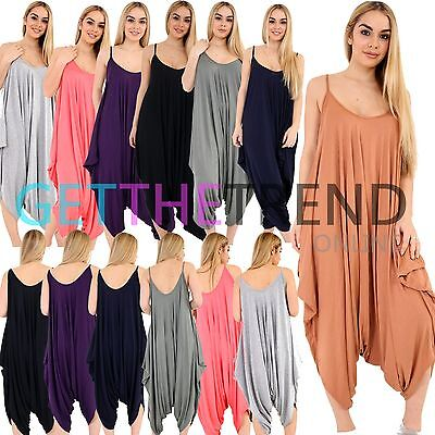 8f37c63c20 Ladies Baggy Harem Jumpsuit Romper Sleeveless All In One V-Neck Cami  Playsuit