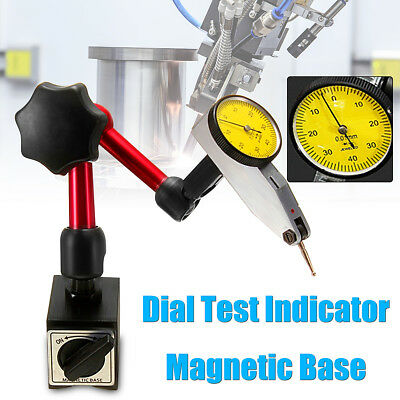 Dial Test Indicator Gauge Scale  + Flexible Magnetic Base Holder Stand Tool