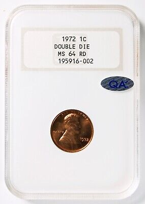 1972 Doubled Die DDO Lincoln 1¢ Cent, NGC MS64RD (Red) QA✓