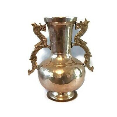 Vintage hammered brass urn style vase - 1970s - 12 inches tall - Made in India