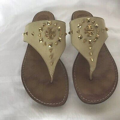 fcd259f5eb7d TORY BURCH DALE Leather Ivory Studded Flat Thong Slides Sandals Size 9.5