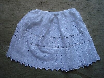 Vintage White Cotton Broderie Anglaise Baby, Child's Or Doll's Underskirt Slip