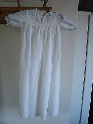 Antique Cotton Christening Gown Lace Neck And Panels Broderie Anglaise Ribbon
