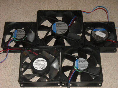 Selection of plastic 24V electronic equipment fans Papst & NMB 5 off