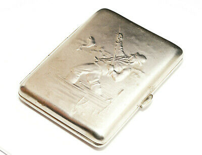 VINTAGE RUSSIAN SILVER PLATAED REPOUSSE CIGARETTE CASE FISHER  USSR 50's