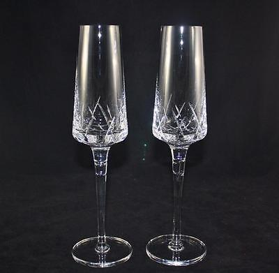 Royal Doulton Lead Crystal Champagne Flutes Toasting Wedding 2 Boxed 12 Inch Hi