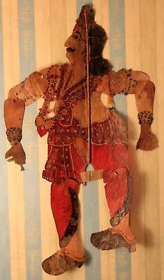 19th century antique shadow leather puppet marionette collectible piece india.