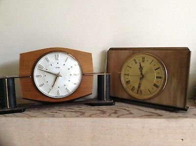 2 Metamec Mantel Clocks Spares Or Repair 1920-1950'S Vintage Wood & Onyx