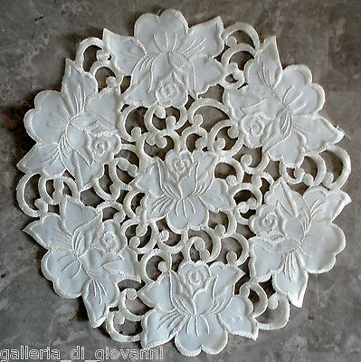 Doily Vanilla Rose Lace  11 inch Cream Flower Floral