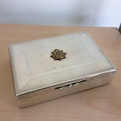 Vintage Art Deco Silver Plate Cigarette Box. Royal Army Service Corps