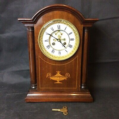 Beautiful Antique Brocot Visible Escapement Mantle Clock. Inlaid Mahogany Case