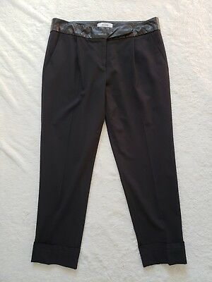 Milly Pleated Wool Blend Cuffed Pant w/ Leather Waistband Cuffed Black sz 8 EUC