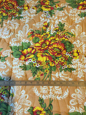 Vintage French Quilt Boutis Whole Cloth Hand Quilted Floral