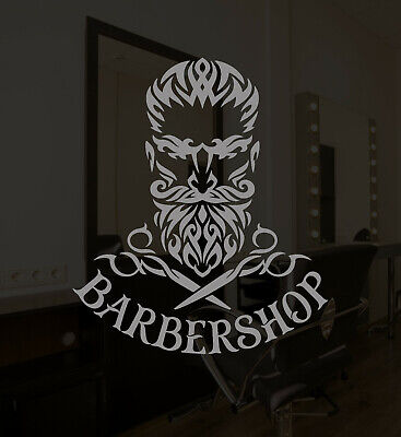 Vinyl Wall Decal Barbershop Logo Scissors Hipster Beard Stickers (3587ig)