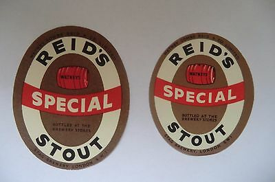 MINT PAIR WATNEYS STAG BREWERY LONDON SWEET STOUT BREWERY BEER BOTTLE LABEL