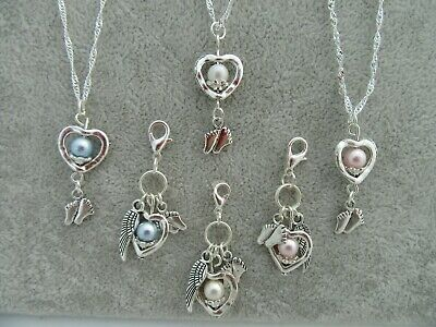 Baby Loss/Miscarriage/Stillborn Memorial Remember  Baby Feet Heart Pendant Charm
