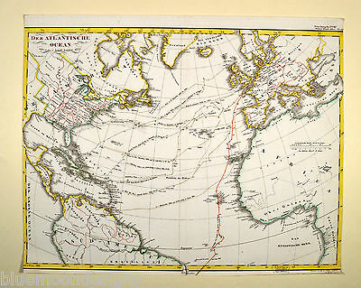 Der Atlantische Ozean Atlantic Ocean Stülpnagel 1835 Original Antique Print Map