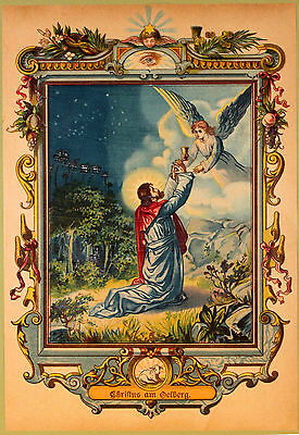 CHRISTUS am Ölberg - ORIGINAL Chromolithografie um 1920 ? - Kitsch