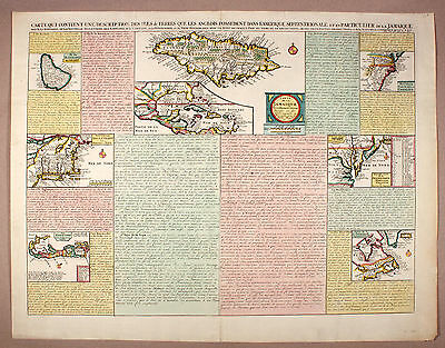 Chatelain 1735 Bermuda Jamaica Carolina Florida Caribbean New York  Barbados Map