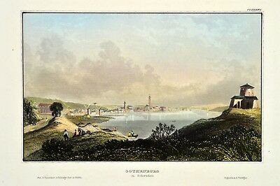 Gothenburg Göteborg Gøteborg Schweden Original Antique Print koloriert Sweden