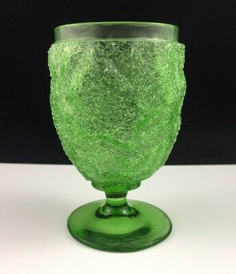 "Antique Victorian Craquelle OVERSHOT Glass Green 4 1/4"" Footed Tumbler / Goblet"