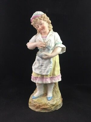 """Antique German HEUBACH Porcelain Bisque Girl and Cat 12 1/2"""" Figurine - Marked"""