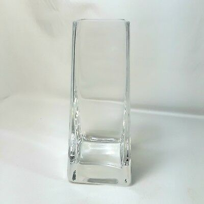 "Krosno Poland Heavy Thick Clear Glass Vase 4 Sided With Original Tag 7.75"" Tall"