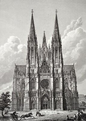 Votivkirche in Wien Original Antique Print ca 1860 Wien Vienna