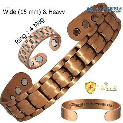 BRANDED STAMPED 12 Mags PURE SOLID COPPER MAGNETIC BRACELET MEN WOMEN  CB60
