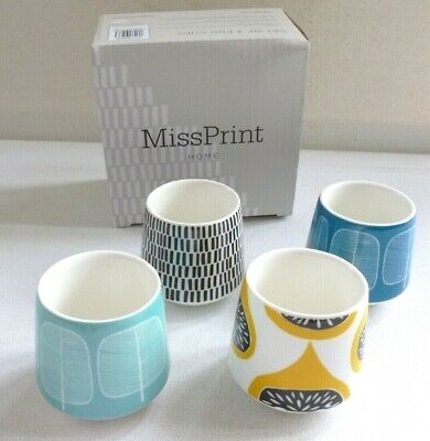 Miss Print - Home range 1950's retro style design 4 x EGG CUPS BRAND NEW IN BOX