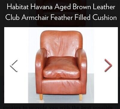 HABITAT Havana Tan Leather Armchair.         A Real Classic!