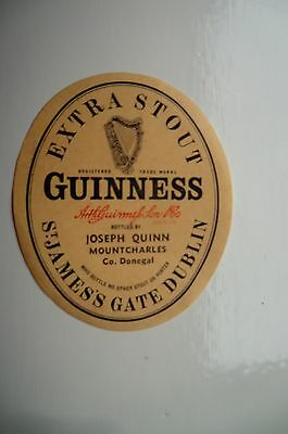 Mint Guinness Extra Stout Bottle Label Bottled By Quinn Mountcharles Donegal