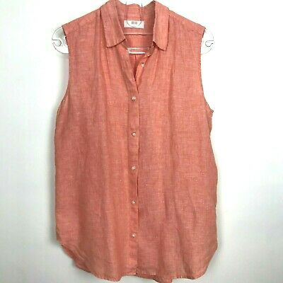 e6b0b3f2 Uniqlo Womens Premium Linen Sleeveless Button Down Shirt Large Orange Coral