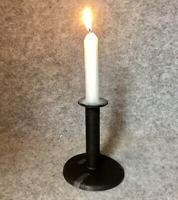 Genuine Small Antique Hog Scraper Candlestick 18th Century Tolware Candle Stick