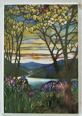 Tiffany Stained Glass Window Magnolia Iris Art Print Mounted Wall Display Easter