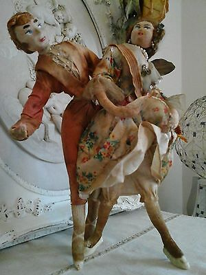 EXTREMELY RARE Antique Europe Boudoir Ancienne Dance Dolls~Primitive Collector