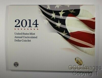 2014 U.S. Mint Annual Uncirculated Dollar Coin Set w/Silver Eagle, MINT SEALED !