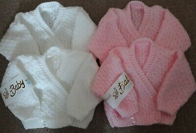 Hand Knitted Baby Girl's Pink/White Cardigans For Newborn Twins