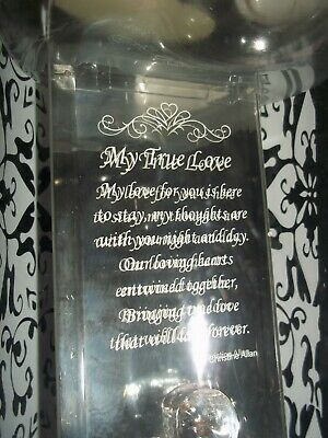 "Loveinbox 22Kt Gold Glass Mirror Message ""My True Love"" Bnib"