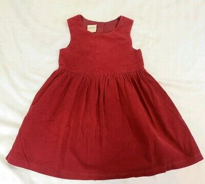 Vintage Laura Ashley Red Mother & Child Cotton Corduroy Dress Age 5