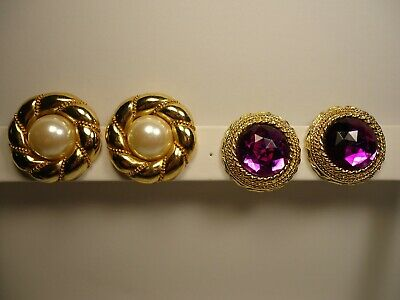 11a952420 2 Pair Vintage Gold Tone Faux Pearl & Amethyst Color Glass Stone Clip  Earrings