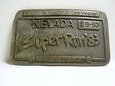 Vintage Super Run Car Show 1983 Las Vegas Street Rat Rods Belt Buckle RARE