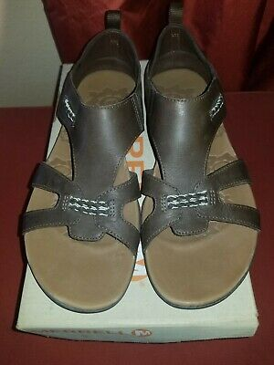 35b985c8acfb Size 8 Merrell Flaxen Women s Espresso Leather Sandals Brown Comfort  Cushion NEW