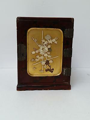 Antique Chinese Japanese Red Lacquer Jewelry Lock Box